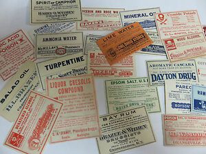 Medicine Labels Lot Of 32 Vintage From Various States And Locations Lot 2