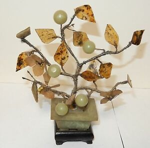 Vintage Jade Stone Blossom Fruit Tree With Wooden Stand