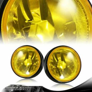 3 5 Round Chrome Reflector Yellow Lens Fog Light Lamps Complete Kit Universal 2