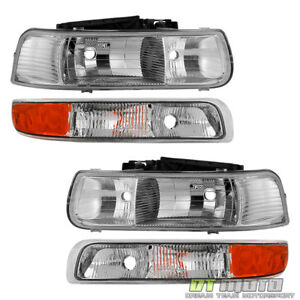4pc 1999 2002 Chevy Silverado 1500 00 06 Suburban Tahoe Headlights Bumper Lamps
