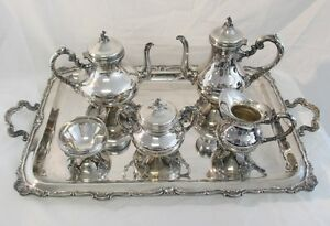 Vintage Camusso Peruvian Sterling Silver Full Tea Coffee Service Set With Tray