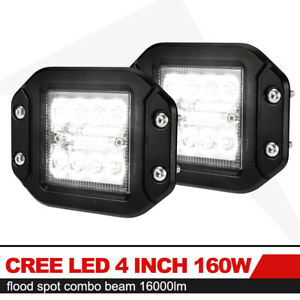 2x 4inch 160w Flush Mount Cree Led Work Light Pods Combo Driving Lamp 12v 24v 5
