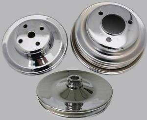 Big Block Chevy Chrome Water Pump Crankshaft Power Steering Pulley Kit Long Pump