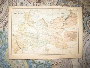 Antique 1880 Northern Germany Berlin Belgium Netherlands Amsterdam Brussels Map