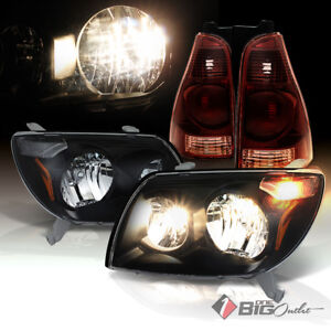 03 05 4runner Black Headlights Tinted Smoke Red Tail Lights Assembly L r