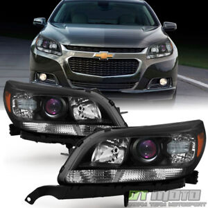 New Left Right 2013 2014 2015 Chevy Malibu Halogen Projector Headlights Black