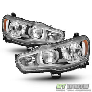 2008 2017 Mitsubishi Lancer Evo X Headlights Headlamps W chrome Bezel Left right