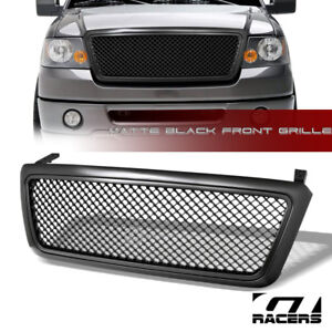 Matte Black For 2004 2008 Ford F150 Luxury Mesh Upper Front Bumper Grill Grille