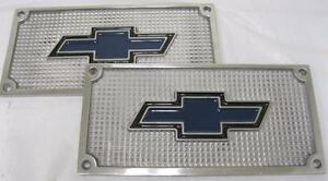 Chevy Car Truck Flat Polished Aluminum Running Board Step Plate Set Bowtie Logo
