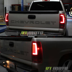 Black 2003 2006 Chevy Silverado 1500 Led Light Bar Tail Lights Lamp Set 03 06