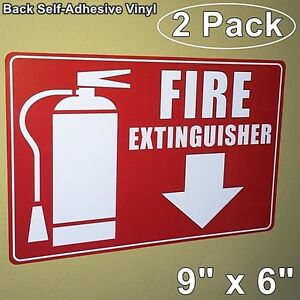 2 Pack Fire Extinguisher arrow Down Wall Warning Sign Vinyl Sticker Decal