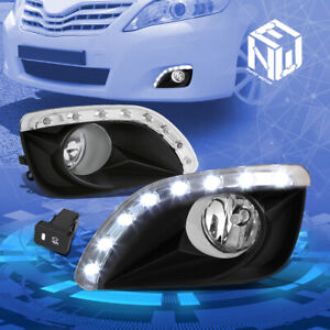 Chrome Clear Driving Fog Light lamp led Drl switch For 2010 2011 Toyota Camry