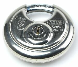 Abus 26 80 Stainless Diskus Round Padlock Made In Germany