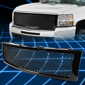 Black Abs Front Bumper Honeycomb Mesh Grille For 2007 2013 Chevy Silverado 1500