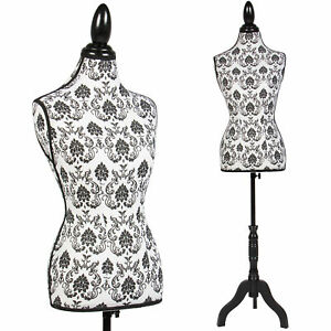 Female Mannequin Torso Dress Form Display W Black Tripod Stand Designer Pattern