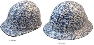 New Hydro Dipped Hard Hat W Ratchet Suspension Blue Floral Toile Print