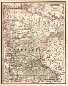 1886 Antique Minnesota Map State Map Of Minnesota Gallery Wall Art 3207
