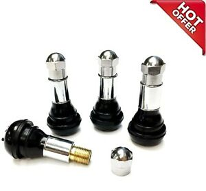 Tr413 Snap In Tire Valve Stems With Caps Chrome Black Rubber 4pcs