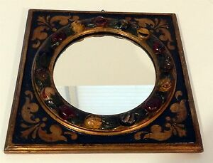Antique Italian Hand Carved Painted Fruit Motif Wooden Mirror Ala Della Robia