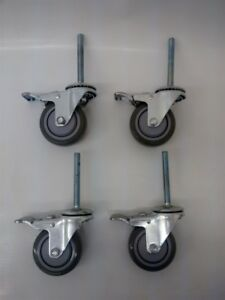 Lot Of 4 Durable Steel Swivel Stem Casters With 3 5 Gray Polyurethane Wheels