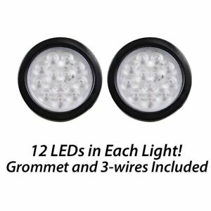 2 Clear 4 Inch White 12 Led Round Backup Tail Truck Light W Grommet