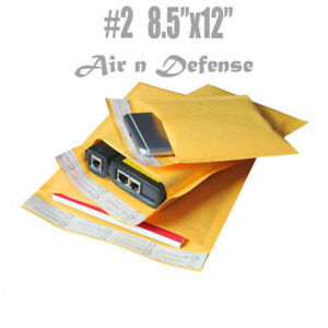2 8 5x12 Kraft Bubble Padded Envelopes Mailers Yellow Shipping Bags Airndefense