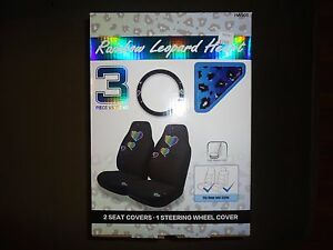 Who Rae Leopard Hearts 2 Universal Front Seat Covers Steering Wheel Cover