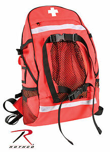 New Emt ems Paramedic Fire rescue Red Trauma Gear Backpack W medic Cross Logo