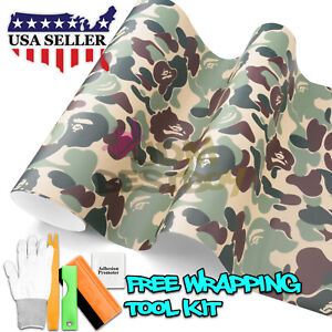 60 X300 Green Ape Camouflage Camo Vinyl Car Wrap Sticker Decal Air Release Diy