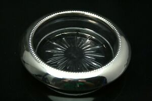 Frank M Whiting Co Sterling Silver Glass Beverage Coaster Free Ship Ant1259
