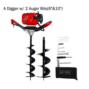 2 2hp Earth Auger Driller Gas Powered Soil Digger 6 10 Drill Bits Digging Set