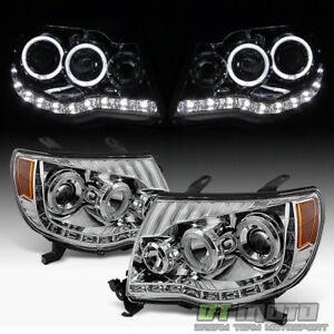 For 2005 2011 Toyota Tacoma Led Drl Halo Projector Headlights Headlamps 05 11