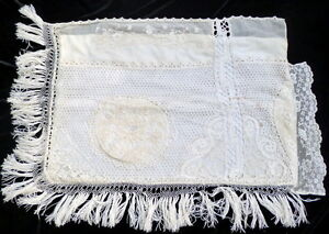 Rare Antique French Mixed Lace Embroidery Boudoir Pillow Case From Paris