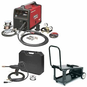 Lincoln Power Mig 180c Mig Welder W Cart Spoolgun k2473 2 K2275 1 K3269 1