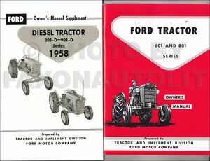 1958 1962 Ford Tractor 601 801 Diesel Owners Manual Set 821 841 851 861 621 651