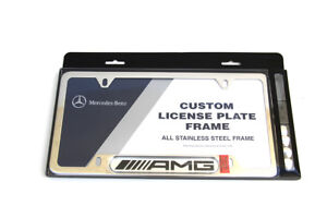 Mercedes Benz Polished Stainless Steel License Plate Frame Amg Logo Genuine Oem