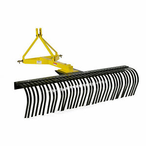 4 Landscape Rock Rake 3 Point Soil Gravel Lawn Tow Behind Tractor 4ft W Wheels