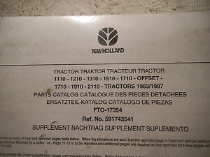 New Holland Tractor 1110 1210 1310 1510 1710 Offset Parts Catalog Supplement