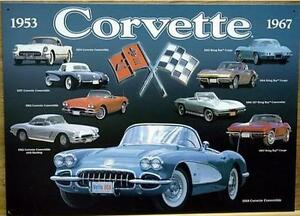 Vintage Replica Tin Metal Sign Corvette Convertible Sting Ray Coupe Chevy 96660