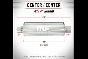 Magnaflow Muffler Universal Straight 4 Round 2 25 In out 28 Length 2 5 Size