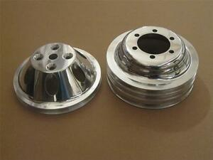 Small Block Mopar Polished Aluminum 1 3 Groove Water Pump Crankshaft Pulleys