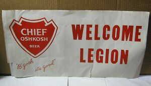 Chief Oshkosh Beer Paper Advertising Sign Banner Wi Brewery T