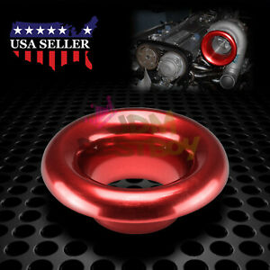 3 Red Aluminum Short Ram Cold Air Intake Filter Velocity Stack Flow Turbo Horn