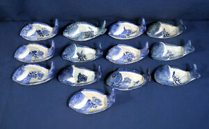 13 Vintage Antique Chinese Porcelain Canton Fish Sauce Boats Bowls Dishes