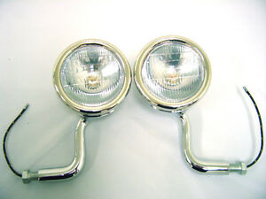 1928 1929 Ford Model A Stainless Cowl Lamp Light Set Original Style 6 Volt Pair