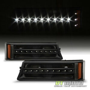 Black Set 2003 2006 Chevy Silverado 1500 Smd Led Drl Bumper Lights Parking Lamps