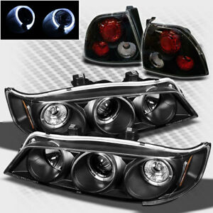 For 94 95 Honda Accord Twin Halo Projector Headlights Tail Lights Lamp Pair New