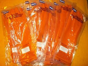 9 Pair North Safety Orange Ak1815 o 8 Size 8 Acid Alkali Latex Cleanroom Gloves