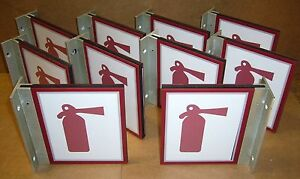 Lot Of 10 New Right angle Fire Extinguisher Signs Plexiglass Aluminum