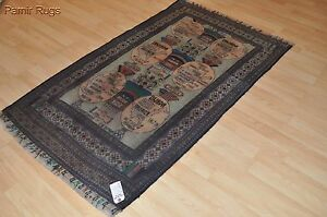 3 X 6 Tribal Beluch Rug Pictorial War Rug Afghan Russian Baloch Collectable